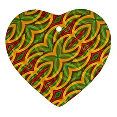 Tropical Colors Abstract Geometric Print Heart Ornament (Two Sides)