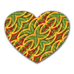 Tropical Colors Abstract Geometric Print Mouse Pad (heart)