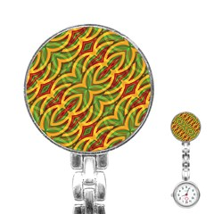 Tropical Colors Abstract Geometric Print Stainless Steel Nurses Watch