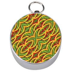 Tropical Colors Abstract Geometric Print Silver Compass