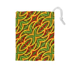 Tropical Colors Abstract Geometric Print Drawstring Pouch (Large)