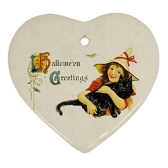 Hallowe en Greetings Heart Ornament