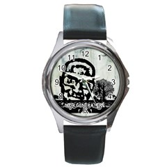 M G Firetested Round Leather Watch (silver Rim)