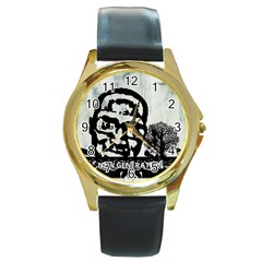 M G Firetested Round Leather Watch (gold Rim)