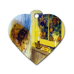 Vintage Halloween Postcard Dog Tag Heart (Two Sided)