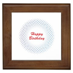 Halftone Circle With Squares Framed Ceramic Tile