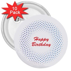Halftone Circle With Squares 3  Button (10 pack)