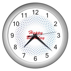 Halftone Circle With Squares Wall Clock (silver)