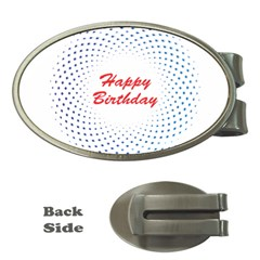 Halftone Circle With Squares Money Clip (Oval)