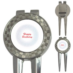 Halftone Circle With Squares Golf Pitchfork & Ball Marker