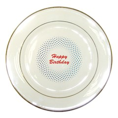 Halftone Circle With Squares Porcelain Display Plate