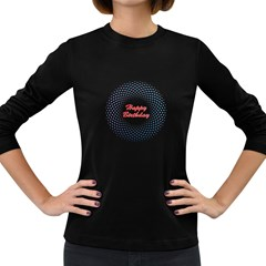 Halftone Circle With Squares Women s Long Sleeve T-shirt (Dark Colored)