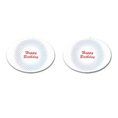 Halftone Circle With Squares Cufflinks (Oval)