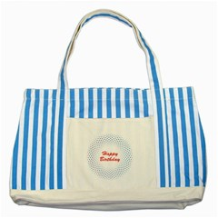 Halftone Circle With Squares Blue Striped Tote Bag