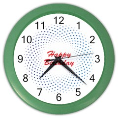 Halftone Circle With Squares Wall Clock (Color)