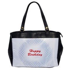 Halftone Circle With Squares Oversize Office Handbag (one Side)