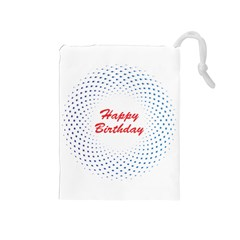 Halftone Circle With Squares Drawstring Pouch (Medium)