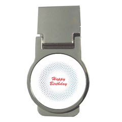 Halftone Circle With Squares Money Clip (Round)