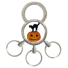 Vintage Halloween Cat 3-Ring Key Chain