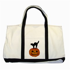 Vintage Halloween Cat Two Toned Tote Bag