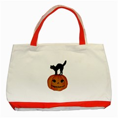 Vintage Halloween Cat Classic Tote Bag (Red)