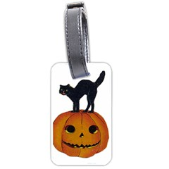 Vintage Halloween Cat Luggage Tag (Two Sides)