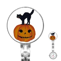 Vintage Halloween Cat Stainless Steel Nurses Watch