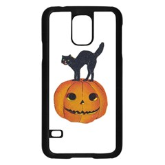 Vintage Halloween Cat Samsung Galaxy S5 Case (Black)