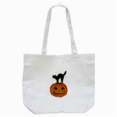 Vintage Halloween Cat Tote Bag (White)
