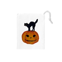 Vintage Halloween Cat Drawstring Pouch (Small)