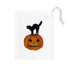 Vintage Halloween Cat Drawstring Pouch (Large)