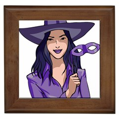 Purple Witch Framed Ceramic Tile
