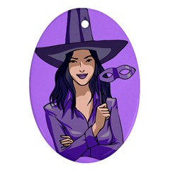 Purple Witch Oval Ornament (Two Sides)