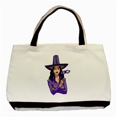 Purple Witch Twin-sided Black Tote Bag