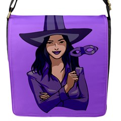 Purple Witch Flap Closure Messenger Bag (Small)