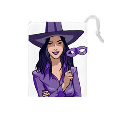 Purple Witch Drawstring Pouch (Medium)