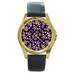 Colorful Tribal Pattern Print Round Leather Watch (gold Rim)