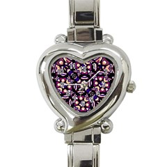 Colorful Tribal Pattern Print Heart Italian Charm Watch