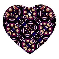 Colorful Tribal Pattern Print Heart Ornament (two Sides)