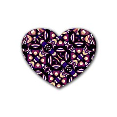 Colorful Tribal Pattern Print Drink Coasters 4 Pack (heart)
