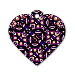 Colorful Tribal Pattern Print Dog Tag Heart (Two Sided)