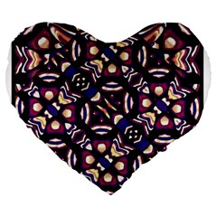 Colorful Tribal Pattern Print 19  Premium Heart Shape Cushion