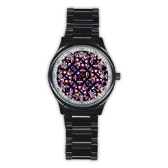 Colorful Tribal Pattern Print Sport Metal Watch (Black)