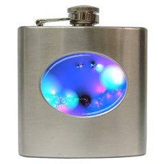 Love In Action, Pink, Purple, Blue Heartbeat 10000x7500 Hip Flask