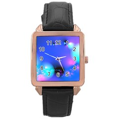 Love In Action, Pink, Purple, Blue Heartbeat 10000x7500 Rose Gold Leather Watch