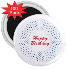 Halftone Circle With Squares 3  Button Magnet (100 pack)