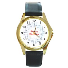 Halftone Circle With Squares Round Leather Watch (gold Rim)