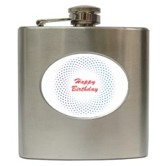Halftone Circle With Squares Hip Flask