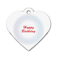 Halftone Circle With Squares Dog Tag Heart (two Sided)