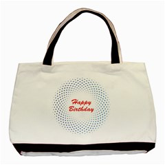 Halftone Circle With Squares Twin-sided Black Tote Bag